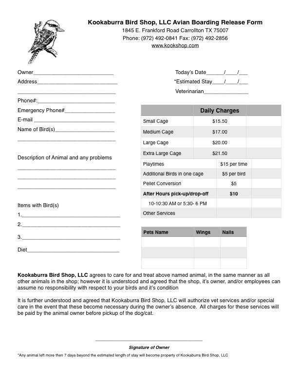 pet sitter forms